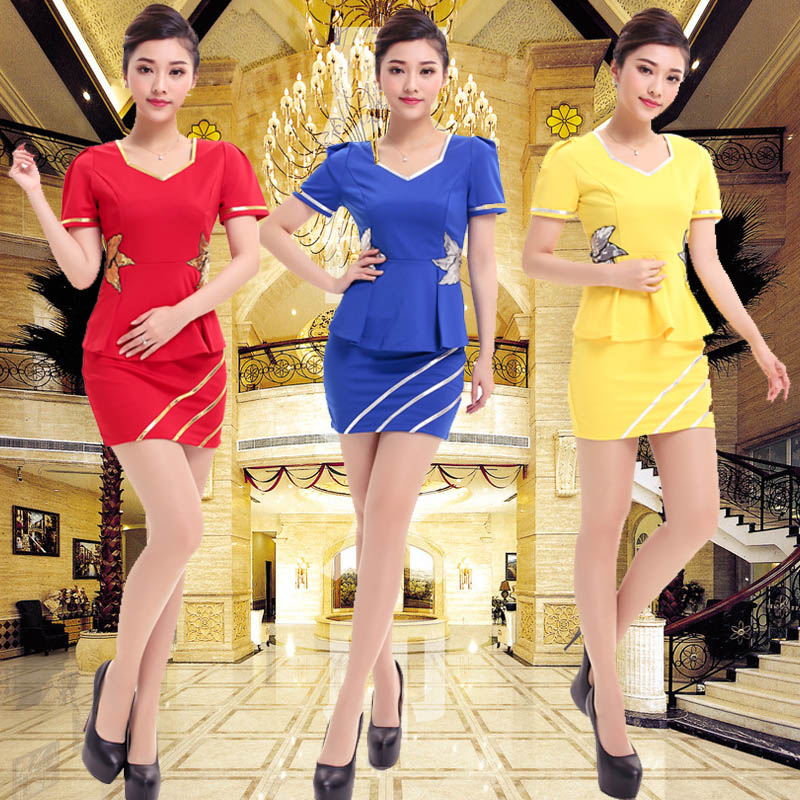 2015 new hotel reception sauna clothes foot reflexology technician overalls female beautician overalls summer skirt