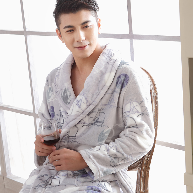 72799e5d4f Get Quotations · 2015 new men increased thickening coral fleece robe  bathrobe autumn and winter flannel nightgown pajamas bathrobe