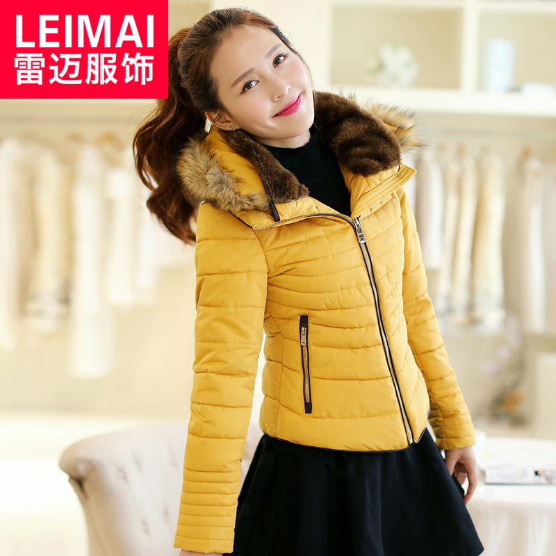 2015 new winter coat female short paragraph korean slim thick padded collar piles female fur collar coat big yards tide