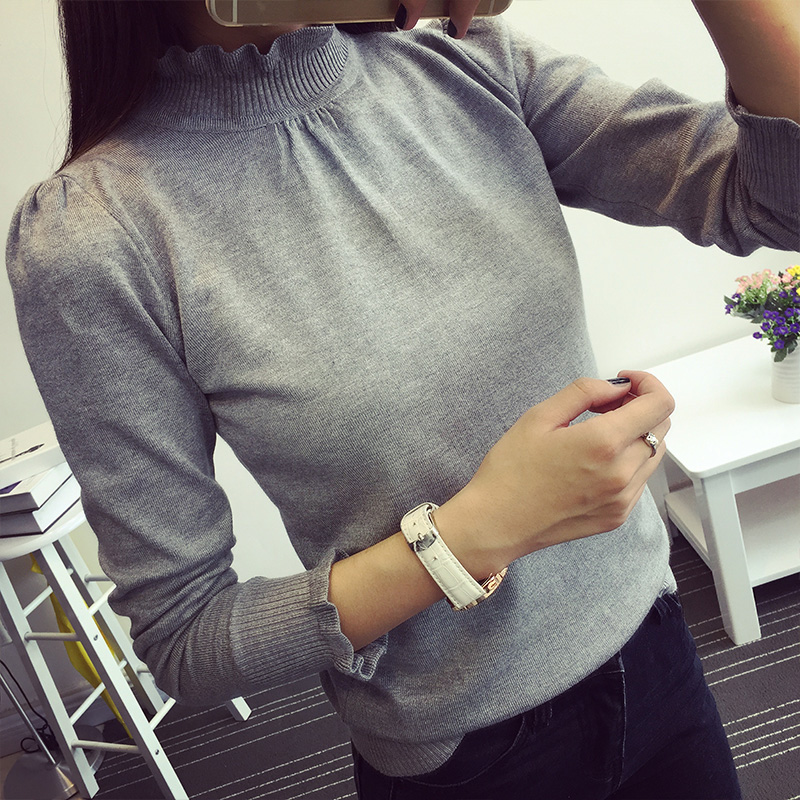 2015 new winter flounced turtleneck sweater female hedging slim was thin women bottoming shirt long sleeve sweater