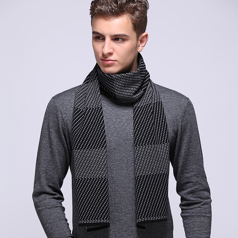 2015 new winter men's wool scarf scarf student leisure and business middle-aged sheep wool winter thick shawl