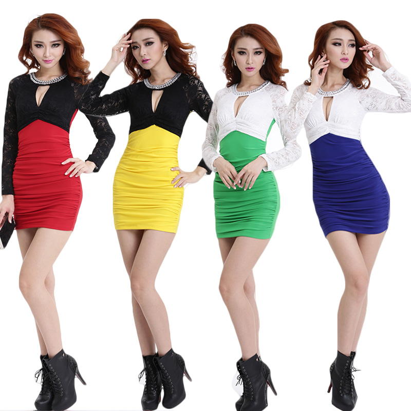 2015 new winter sleeved evening dress sexy dress sauna technician uniforms ktv princess costume suits wine shop