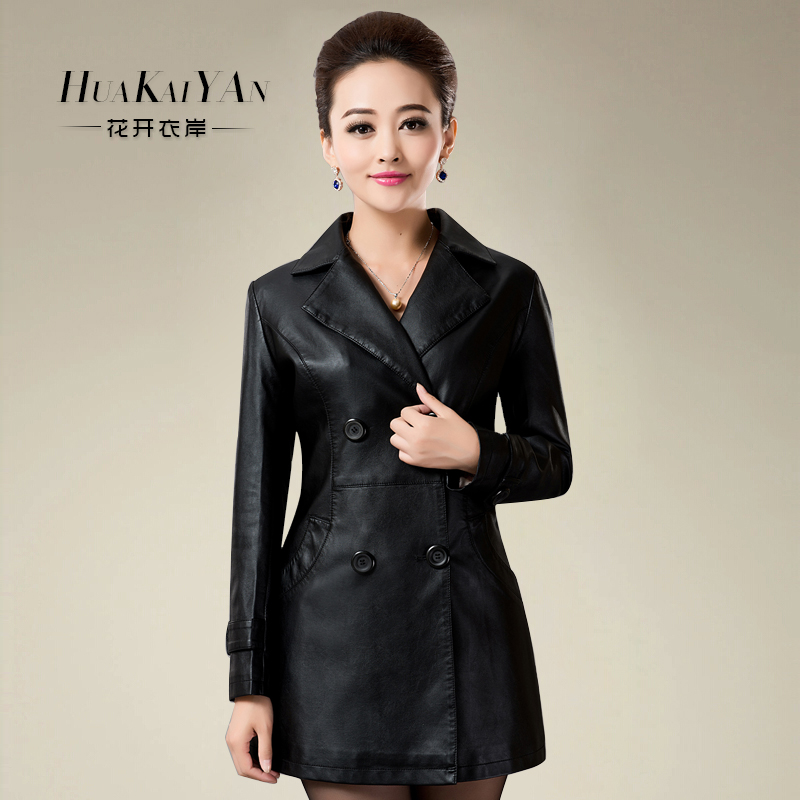 2015 new winter women slim leather leather jacket large size women's middle-aged women plus thick pu leather jacket