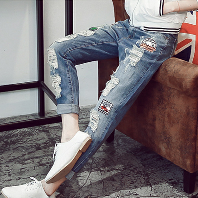 2015 summer new women's jeans straight jeans cotton trousers frayed wear white washed jeans to do the old hand work
