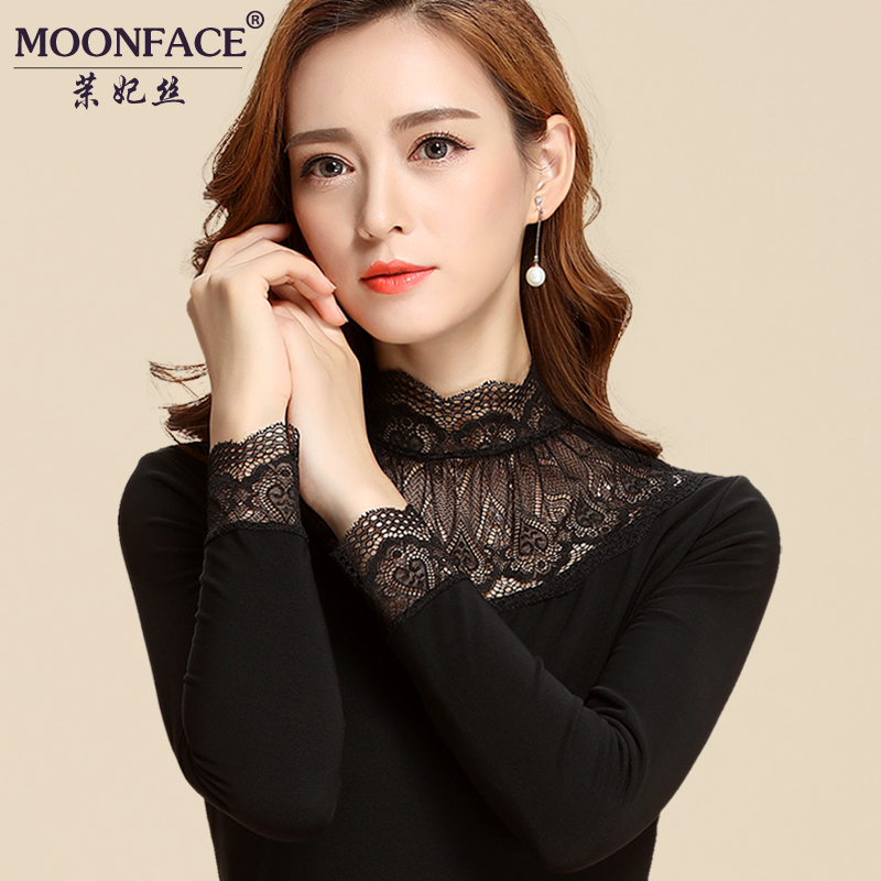2016 autumn and a half high collar lace shirt bottoming shirt shayi mesh lace collar shirt long sleeve black women slim