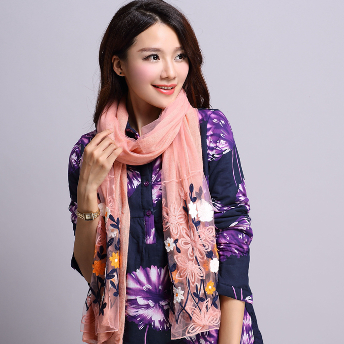 2016 autumn and winter new ms. long double thick wool scarf small scarf shawl small floral scarf