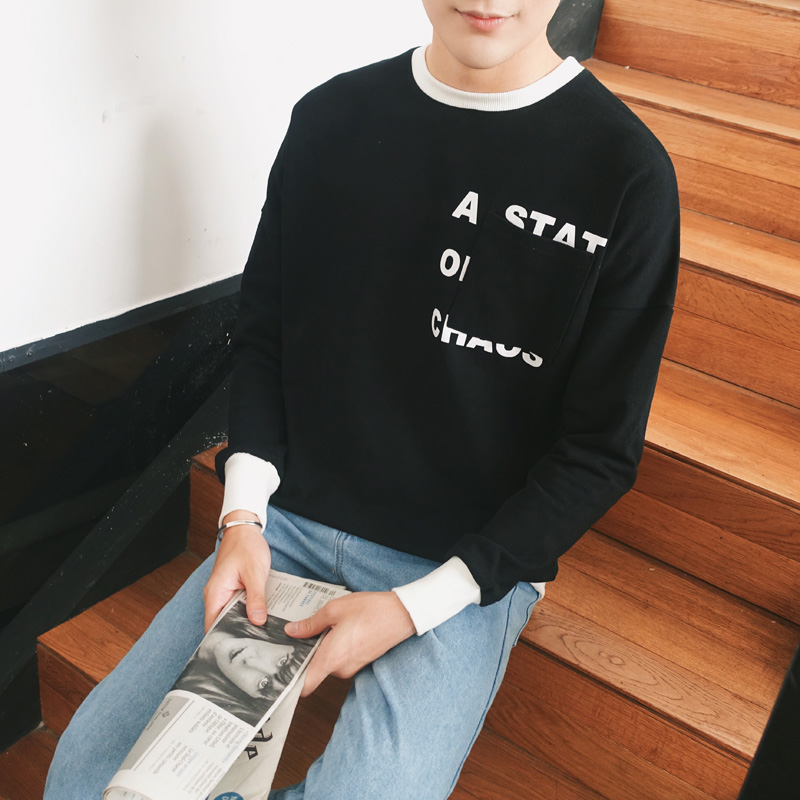 2016 autumn mens round neck sweater hedging male korean version of the influx of students loose sweater tide male korean student sweater