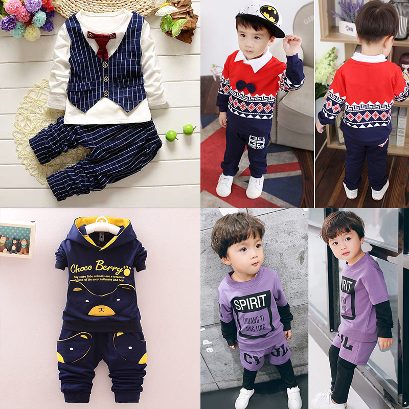 2016 autumn new children's clothing female baby boy clothes long sleeve suit 0-1-2-3-4-5-year-old
