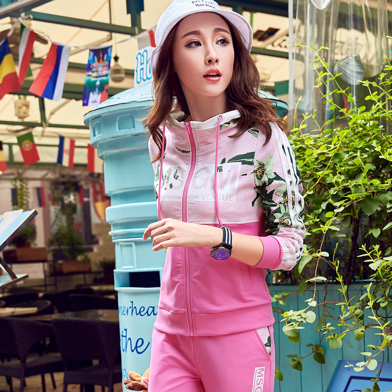 2016 autumn new fashion women's sports and leisure suit women sportswear female spring and autumn piece influx of women with disabilities