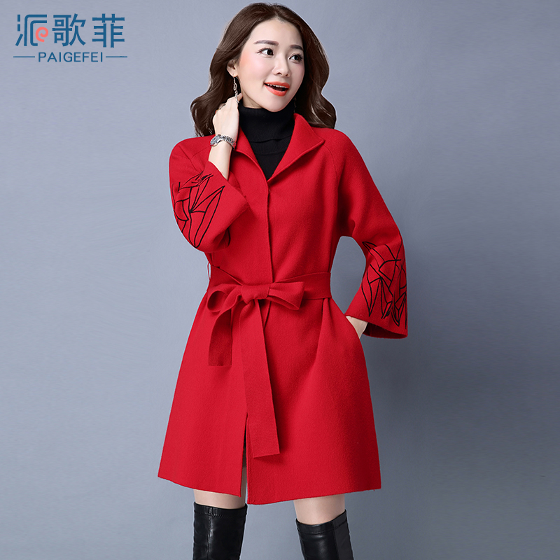 2016 autumn new korean wild solid color coat girls long paragraph shirtwaist needle knit cardigan ladies winter tide