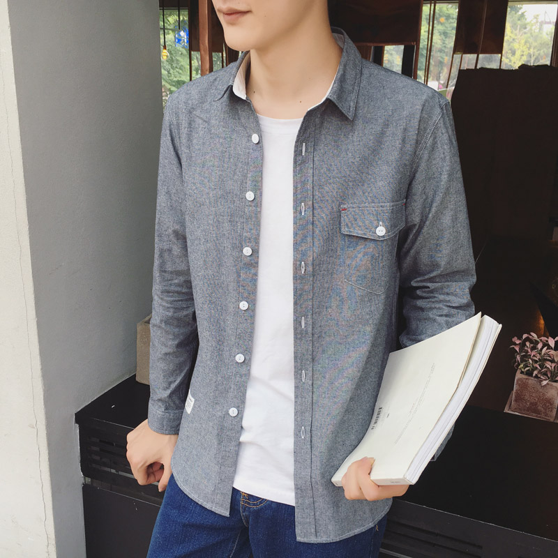 2016 autumn new solid color shirt slim korean teenagers casual shirt aberdeen influx of male literary