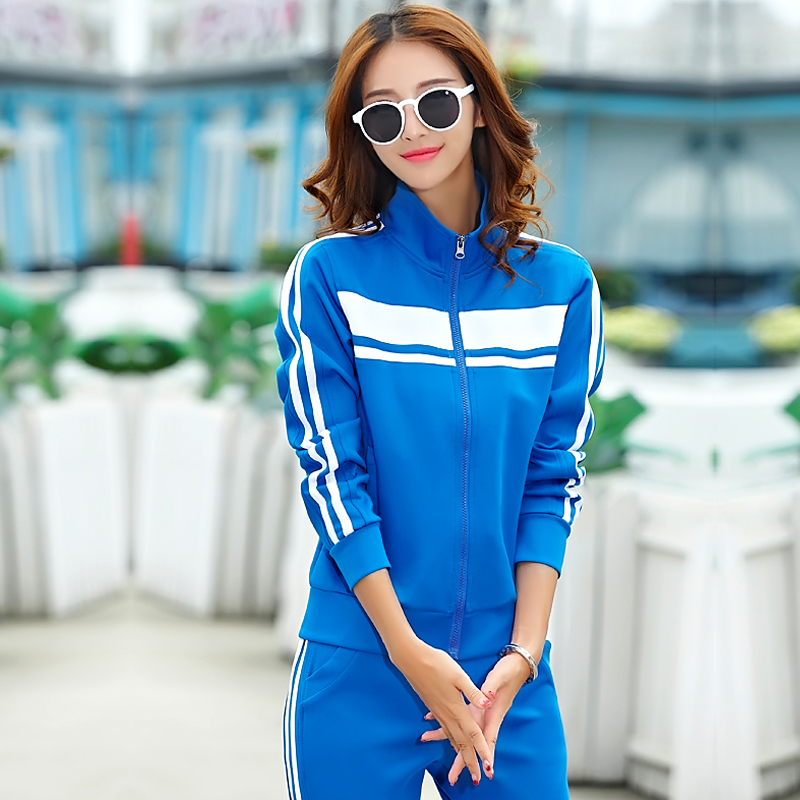 2016 autumn spell color collar slim large size sportswear suit spring and female models big yards long sleeve casual sportswear