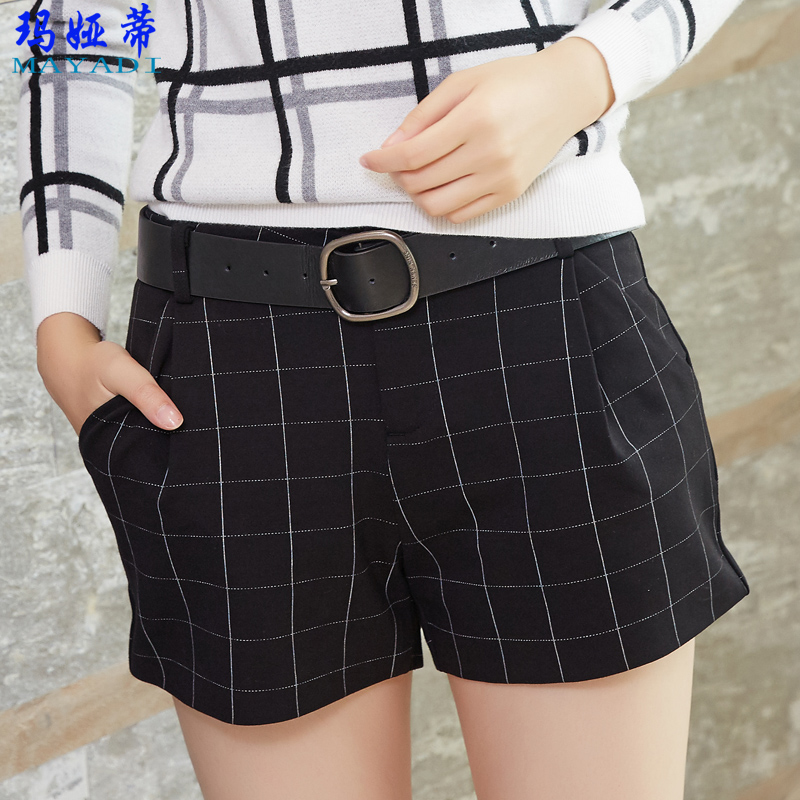 2016 autumn was thin big yards ladies wild casual shorts plaid pants female loose pants wild autumn korean version of the wide
