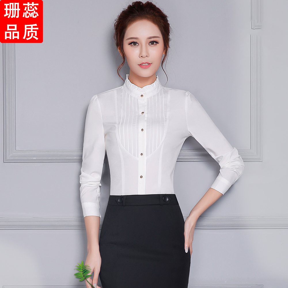 2016 autumn white shirt female tooling sleeved overalls ms. ol professional dress shirt white shirt slim korean fan