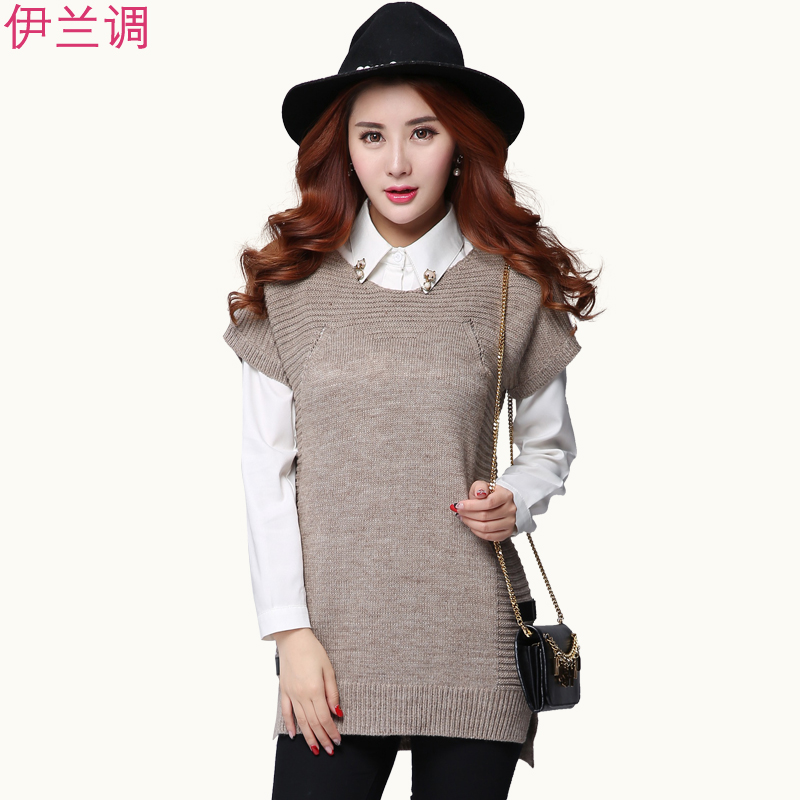 2016 autumn xl women fat mm 200 fat sister korean version of the new bow short sleeve knit sweater