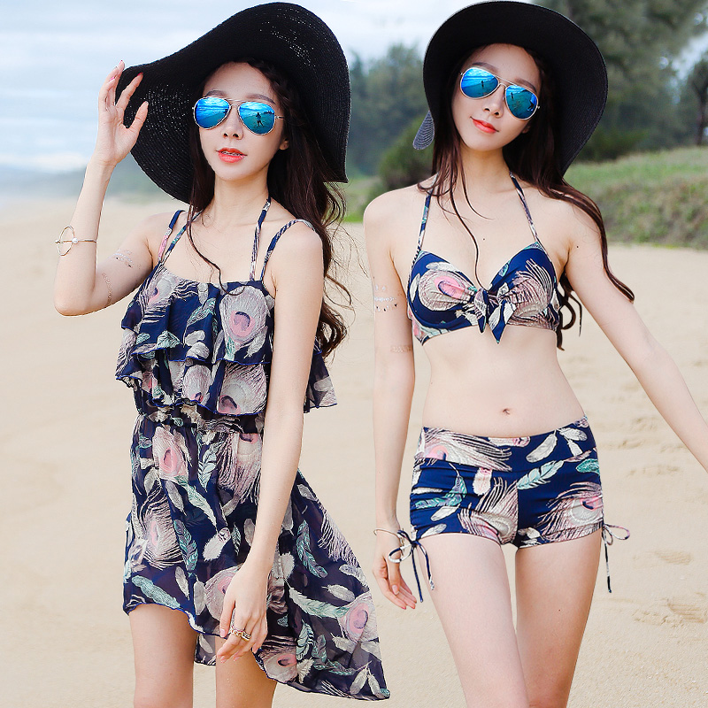 2016 couple models female swimsuit split small chest steel prop gather three sets of warm springs swimsuit bikini swimsuit dress