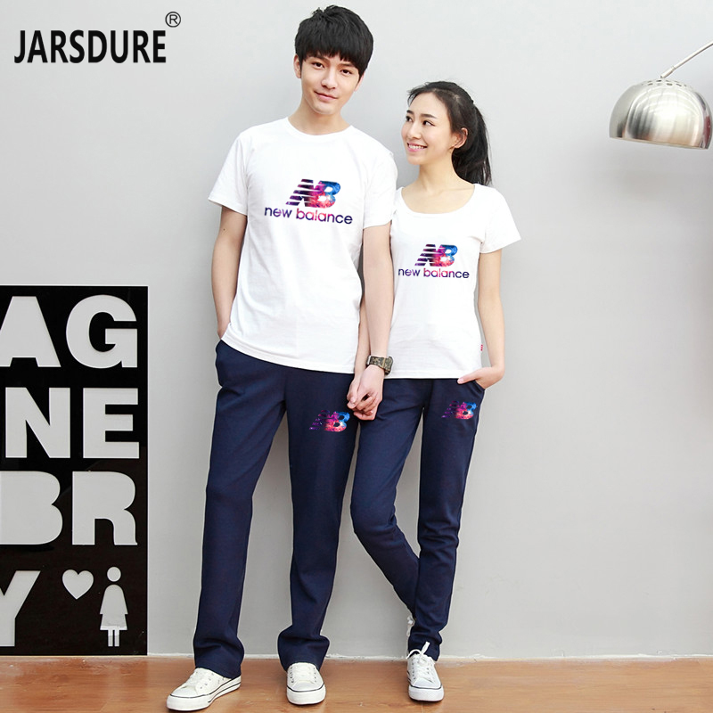 2016 couple sets summer short sleeve t-shirt female korean sports and leisure suit male long pants for men and women couple t-shirt big yards tide