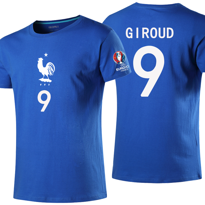 2016 european cup fans of the french team short sleeve t-shirt lu ge postman kat no. 9 jersey no. 7 jersey t-shirts