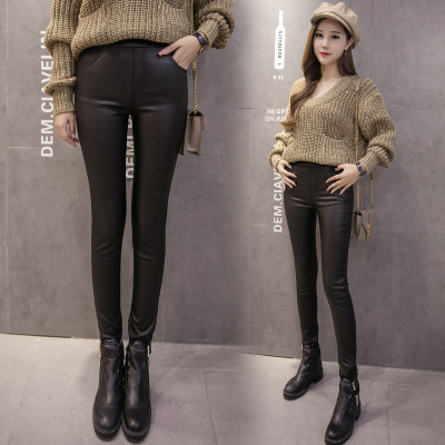 2016 fall and winter clothes korean leather pants women's trousers jane about students students plus velvet leggings feet pencil pants tide
