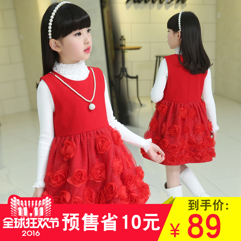 2016 fall and winter clothes woolen vest skirt girls winter winter models of child girls female treasure vest skirt dress autumn paragraph