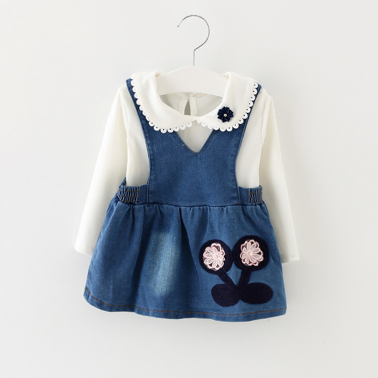 d2252f5bcfe Get Quotations · 2016 girls spring and autumn paragraph piece korean baby girls  denim strap dress strap dress suit