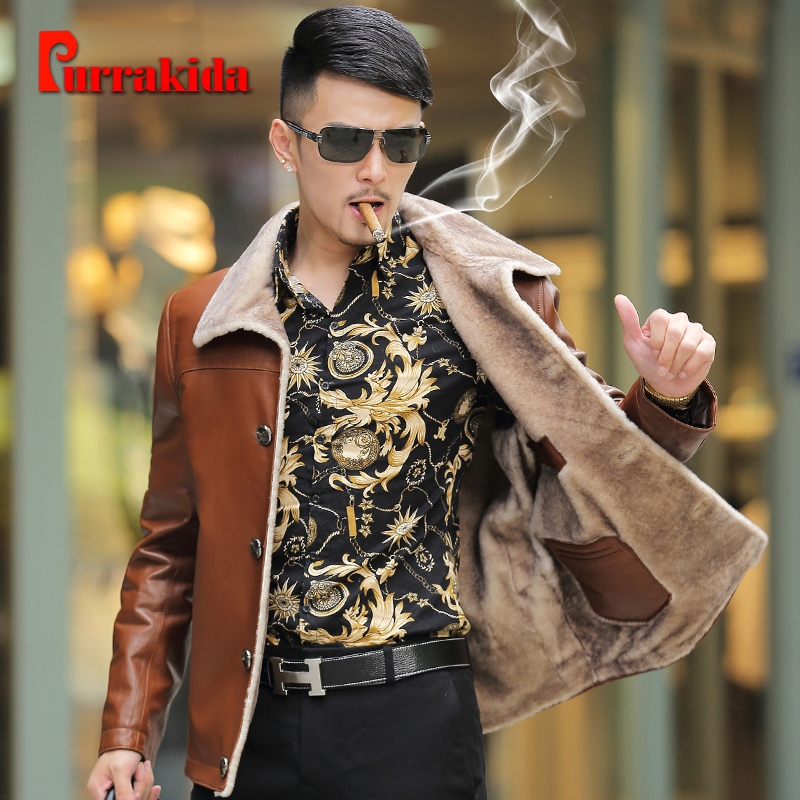 2016 haining leather leather male fur sheep skin leather men's winter new short section of lamb's wool coat lapel