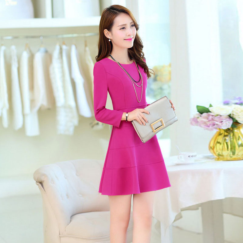 2016 hitz korean version of large size ladies skirt and long sections autumn long sleeve repair body dress sweet woman