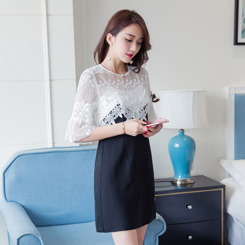 2016 hitz women korean version of the influx of autumn stitching horn sleeve a-line dress was thin lace dress autumn and winter