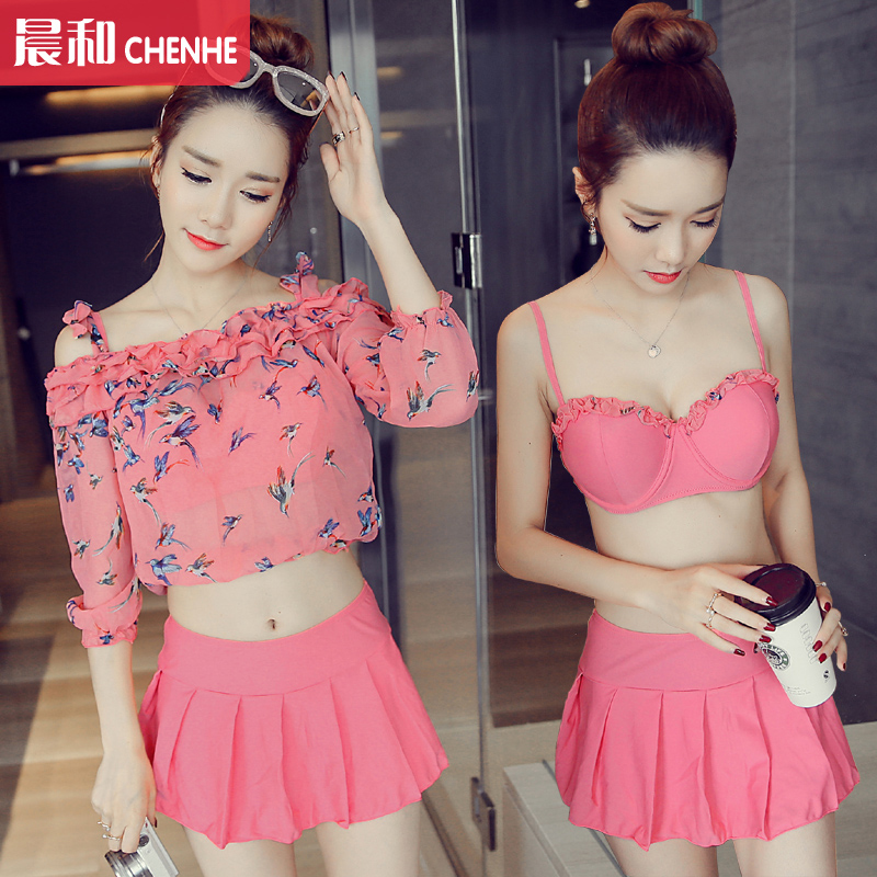 2016 korea bikini three sets of female swimsuit split steel prop gather spa sleeved chiffon blouse sun