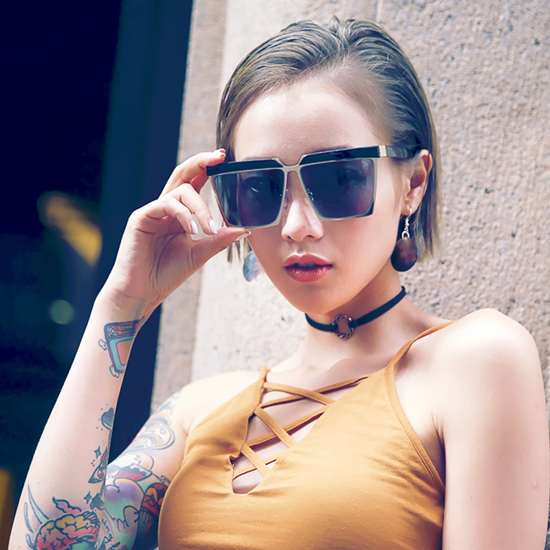 8284408417 Get Quotations · 2016 korea retro sunglasses influx of people male and female  models sunglasses oversized box frame glasses