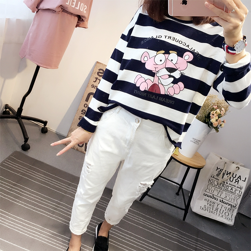 2016 korean autumn new pink panther the pink striped t-shirt female loose bf ulzzang harajuku influx of students who