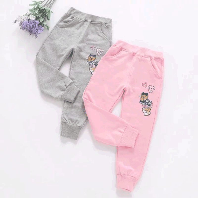 2016 korean bear kids girls spring and autumn cotton casual pants shipped move cartoon shut trousers children pants