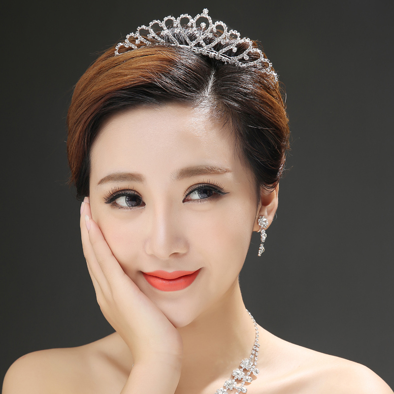2016 korean new bride wedding bridal tiara wedding tiara crown three sets of bridal dress accessories