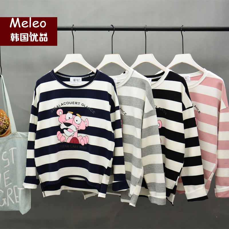 2016 korean ulzzang dongdaemun autumn striped long sleeve mickey t-shirt loose bf students sweater big yards tide