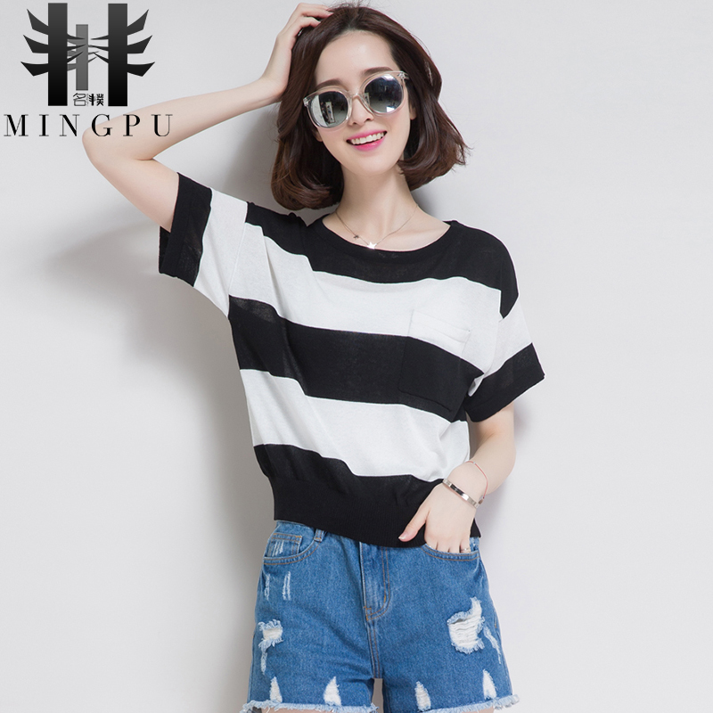 2016 korean version of a short section of new autumn and winter trend hit the color pullover knitting striped short sleeve t-shirt women's summer