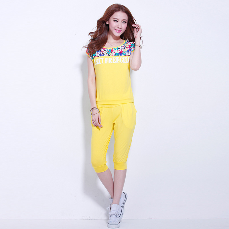 2016 korean version of college wind sports suit female summer leisure sports suit female models summer short sleeve pant suit