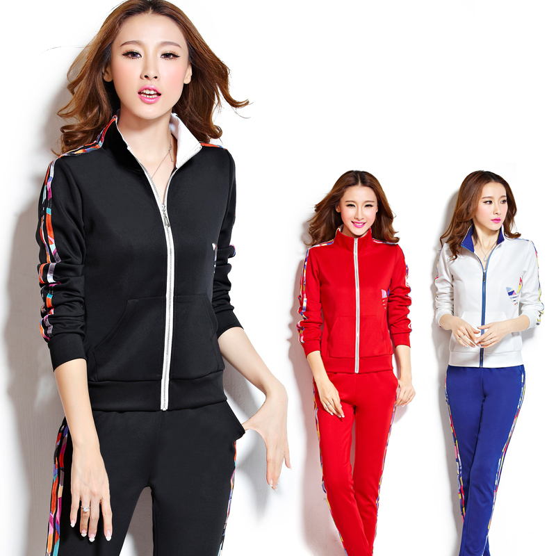 2016 korean version of large size sports suit female autumn long sleeve two piece suit leisure suit spring and autumn yd sportswear jogging