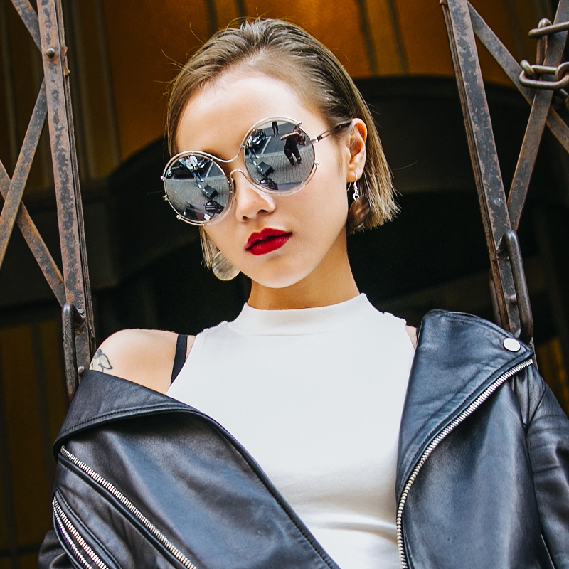 2016 korean version of personality hollow metal sunglasses large frame sunglasses influx of people money double circle round frame sunglasses female sunglasses big face significant Thin