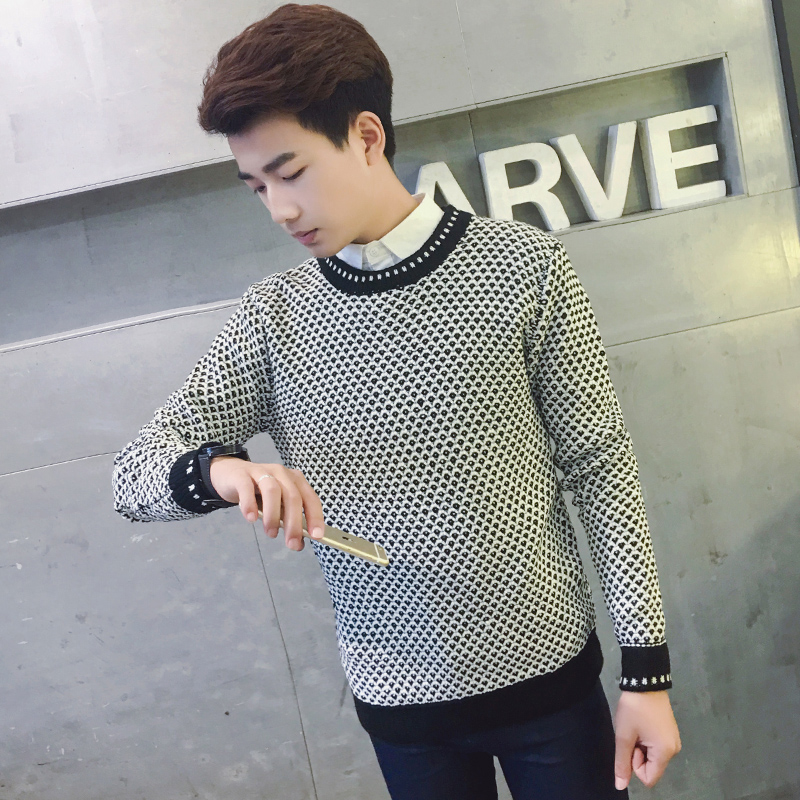 2016 korean version of the spring and autumn korean version of the influx of youth influx of men and men's knit shirt bottoming hedging 1 71p6W