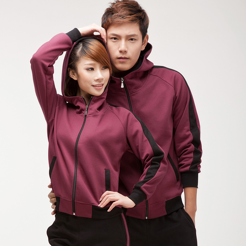 2016 korean version of the spring and autumn new lovers long sleeve hooded cardigan sports suits for men and women sportswear size code