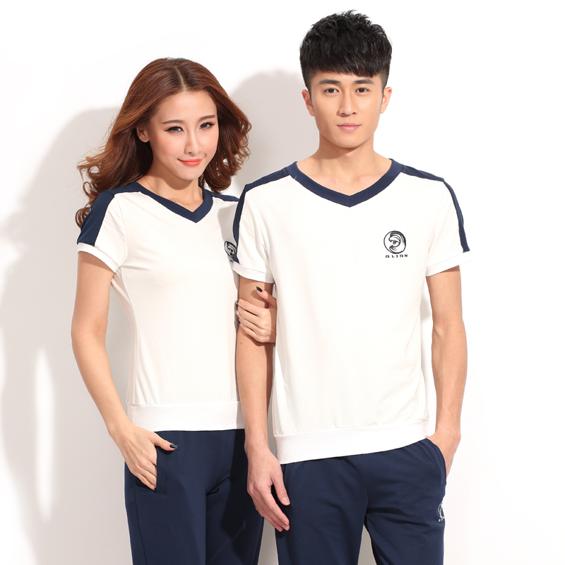 2016 lovers short sleeve sports suit female summer shorts sportswear suit female cotton big yards casual sportswear