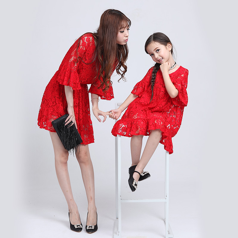2016 models mother and child to wear in spring and summer ladies dress red lace dress princess dress children ladieswear