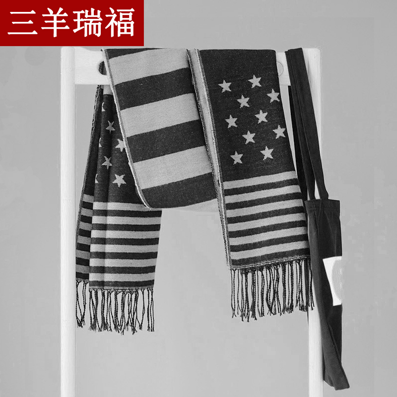 2016 new american flag scarf knitted scarf warm scarf fashion scarf shawl dual autumn and winter influx of female stars