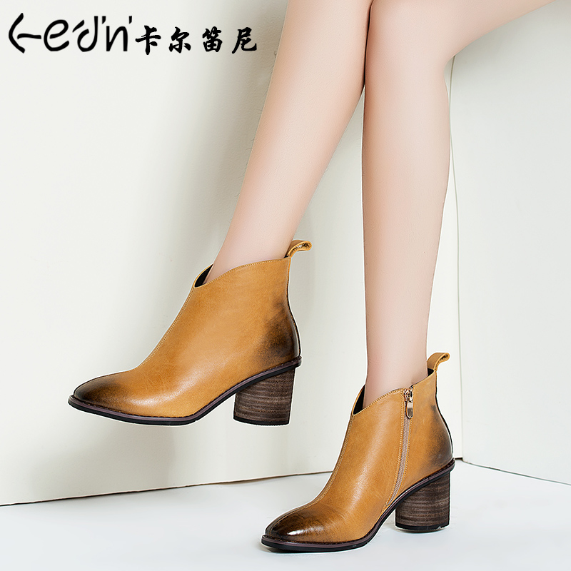 2016 new autumn and winter boots women leather high heels martin boots women boots thick with european and american retro single boots boots female spring and autumn
