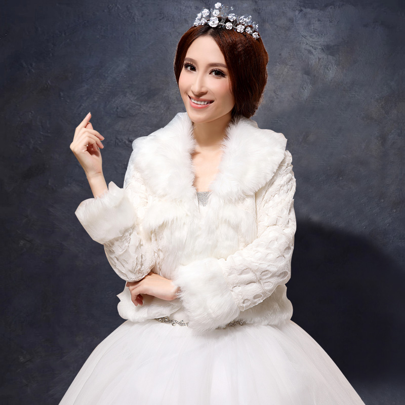 Get Quotations 2016 New Autumn And Winter Long Sleeve Warm White Wool Shawls Wedding Dress Bridal Hair