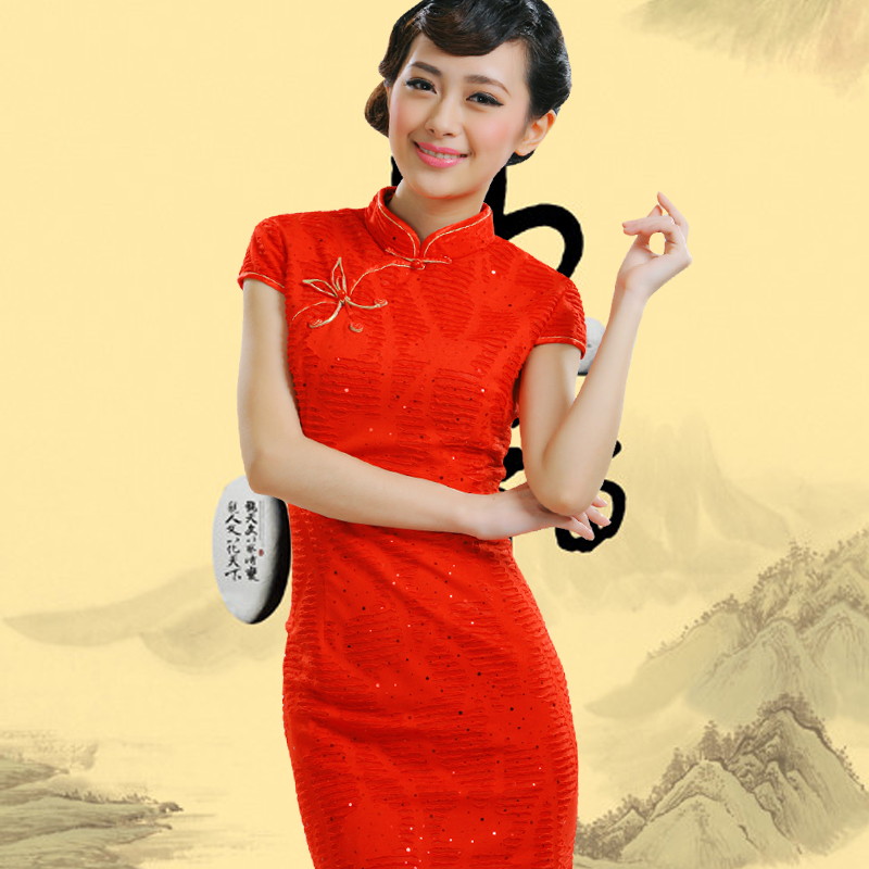 2016 new bride dress flag retro fashion summer improved cheongsam dress short paragraph bridal wear cheongsam dress bridal gown