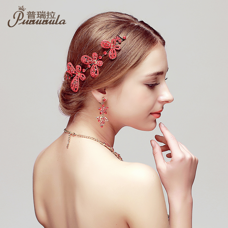 2016 new bride headdress flower head flower handmade red diamond jewelry wedding hair accessories jewelry necklace three sets of equipment