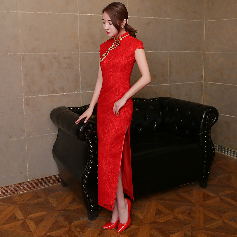 2016 new bride toast clothing cheongsam cheongsam dress long section of the slim chinese cheongsam dress red dress toast the bride wedding summer