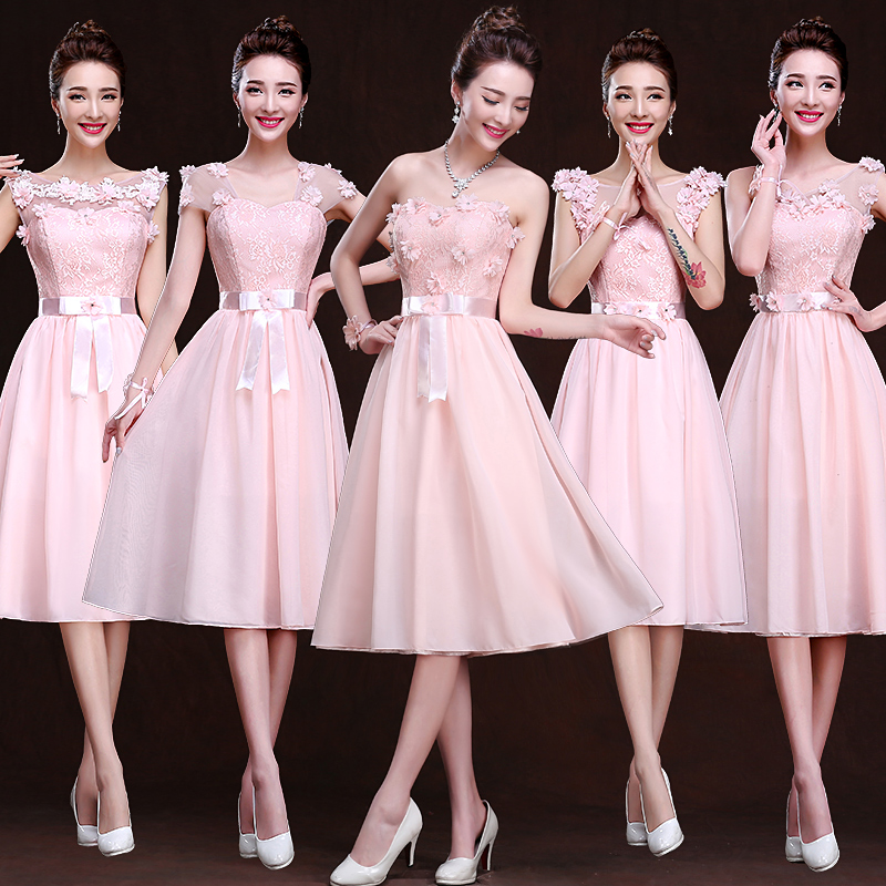 52e21381e89 Get Quotations · 2016 new bridesmaid dress long section of pink korean  mission bridesmaid dress bridesmaid dress sisters dress