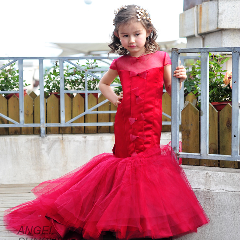 2016 new children's dress girls mermaid tail red catwalk stage costumes evening dress princess tutu